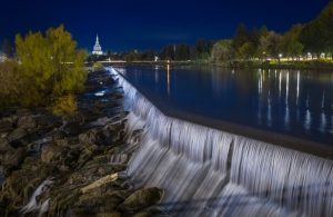 Idaho falls photo at night