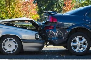 Burley car accident lawyers - blue car rear-ended by silver car