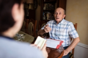 A client talking to his attorney about social security disability in Twin Falls.